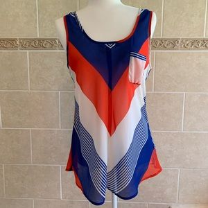Blu Pepper Red White Blue Sheer Tank with Pocket